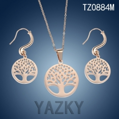 Tree of life jewelry set rose gold plated